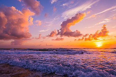 Sunrise over the Atlantic Ocean with the surf washing up on the shore; Indialantic, Florida, United States of America  - p442m1523934 by Steven Miley