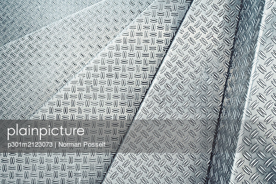 Channeled metal sheet texture - p301m2123073 by Norman Posselt