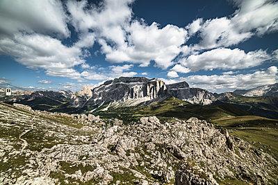 Panoramic view of the Sella Pass, Sotuh Tyrol, Italy, Europe - p1062m2199732 by Viviana Falcomer