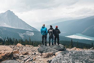 Canada, British Columbia, Yoho National Park, hikers at Mount Burgess looking at Emerald Lake - p300m1568020 by Gustafsson