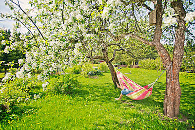 Mid adult man resting on hammock in Heinola, Finland - p352m2041051 by Lauri Rotko