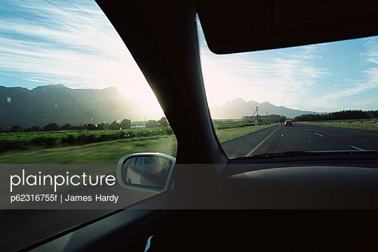 Landscape viewed from car interior
