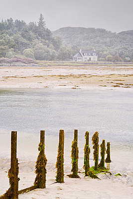 Cottage beach Landscape seascape water sand low tide foggy - p609m2066409 by WALSH photography