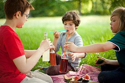 Drei Jungen beim Picknick im Park - p1195m1138155 von Kathrin Brunnhofer