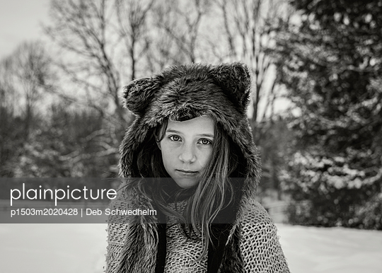 Girl in Animal Hat - p1503m2020428 by Deb Schwedhelm