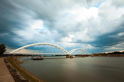 View of Zezelj Bridge over Danube river in Novi Sad city - p623m2271907 by Pablo Camacho