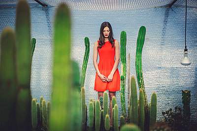 young woman in cactus garden - p1150m2288756 by Elise Ortiou Campion