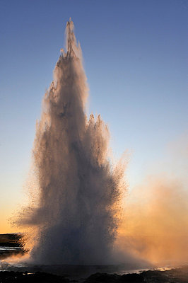 Strokkur Geyser erupting at dawn - p5756672 by Svensson, Mikael