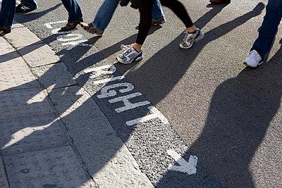 Pedestrians crossing a road - p92411752f by Elizabeth Ellen
