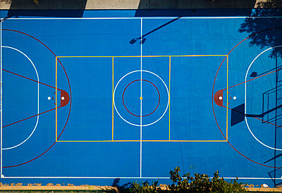 Aerial view by drone of Basketball Court, Cartagena, Bolivar Department, Colombia, South America - p871m2209445 by Ben Pipe