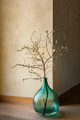 Alte Kugelflasche für Wein, dekoriert mit einem blühenden Zweig, steht auf dem Boden neben einem Fenster. - p948m2134079 von Sibylle Pietrek