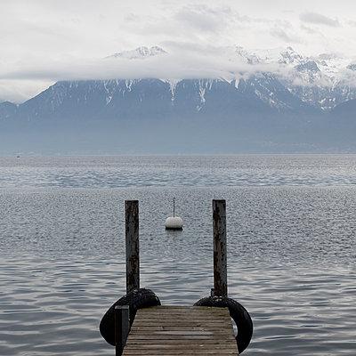 Pontoon at Lake Geneva - p1138m1221977 by Stéphanie Foäche