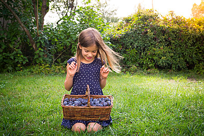 Smiling girl crouching on a meadow with wickerbasket of plums - p300m2081095 by Larissa Veronesi
