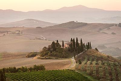 Italy, Tuscany, Val d'Orcia, villa near Pienza - p300m1191975 by Andreas Pacek