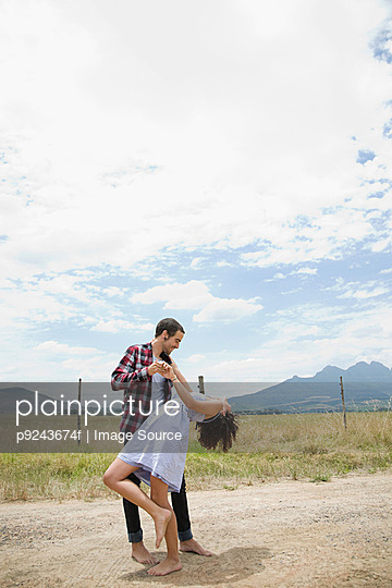 Couple dancing in remote setting