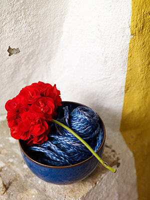 Red geranium and bowl of string, Spain - p349m2167731 by Polly Wreford