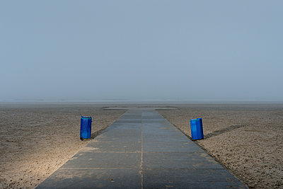 Dustbins on a beach - p1132m1222094 by Mischa Keijser