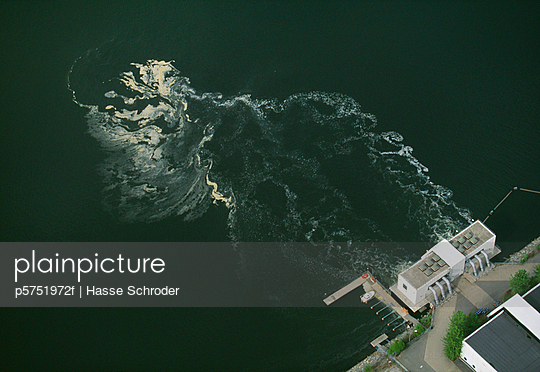 Industrial plant by sea elevated view