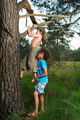 Kids play in the woods - p1132m1152767 by Mischa Keijser