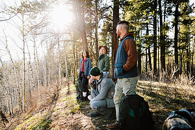 Friends hiking in sunny woods - p1192m2094006 by Hero Images
