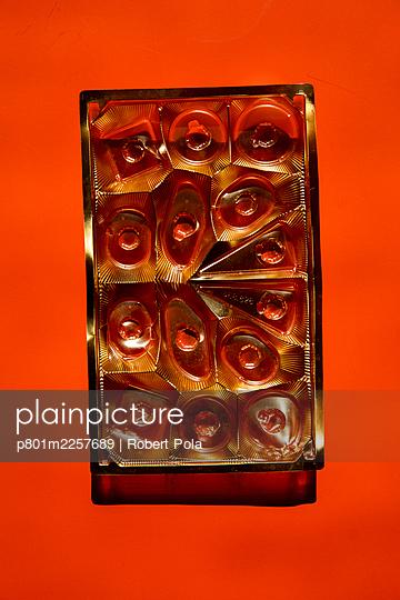 Empty chocolate box  - p801m2257689 by Robert Pola