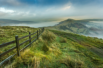 View from Mam Tor of fog in Hope Valley at sunrise, Castleton, Peak District National Park, Derbyshire, England, United Kingdom, Europe - p871m1533977 by Frank Fell