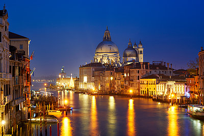 Basilica Santa Maria della Salute at night - p1312m2082205 by Axel Killian