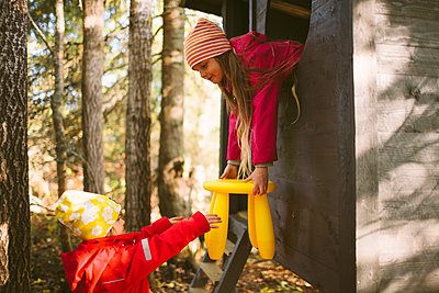 Girls playing on playground - p312m2191111 by Matilda Holmqvist