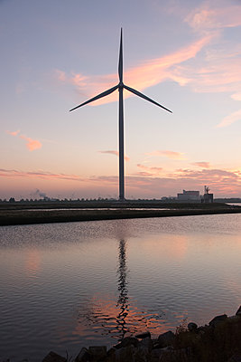 Wind turbine on the waterfront - p1079m1137120 by Ulrich Mertens