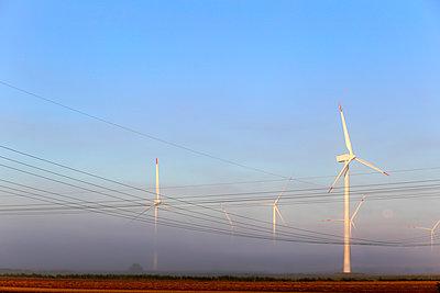 Windkraftwerke im Frühnebel - p1258m1165808 von Peter Hamel