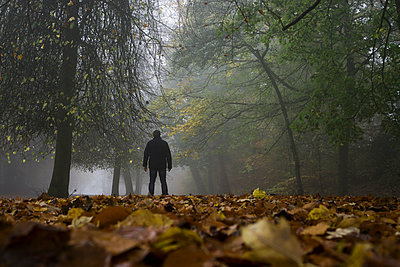 Mysterious male figure standing in foggy forest  - p794m1112890 by Mohamad Itani