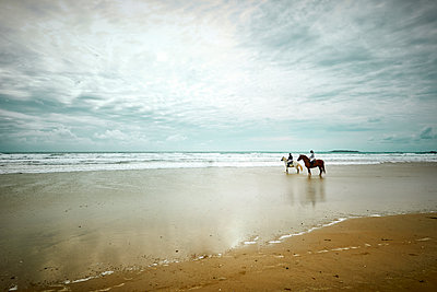 Two riders on the beach - p851m2289526 by Lohfink