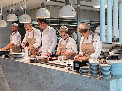 Köche in einer Küche  - p390m2109327 von Frank Herfort