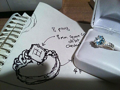 Close up of ring in a jewellery case and a drawing on a notepad. - p1100m1153327 by Mint Images