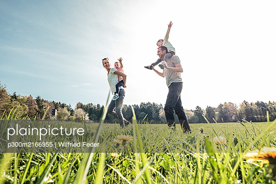 Happy family with two kids on a meadow in spring - p300m2166955 by Wilfried Feder