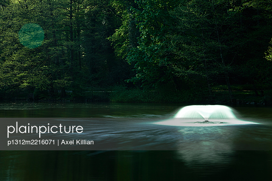 Fountain in a forest lake - p1312m2216071 by Axel Killian