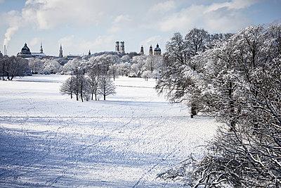 Germany, Munich, English Garden, view to skyline in winter - p300m2083798 von Rainer Berg