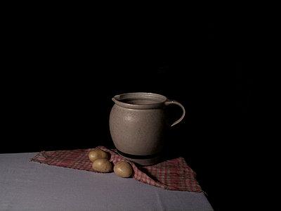 Still life of potatoe and jar - p4440201 by Müggenburg
