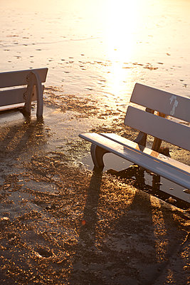 Two benches in the frozen lake - p533m1474810 by Böhm Monika