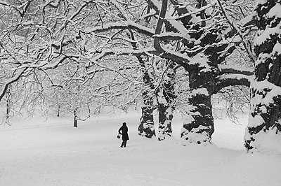 Woman in Snow - p1072m829439 by Neville Mountford Hoare