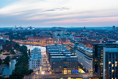 Cityscape at dusk - p312m1210962 by Stefan Isaksson