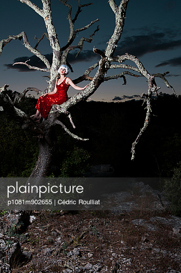 Woman sitting on a dead tree - p1081m902655 by Cédric Roulliat
