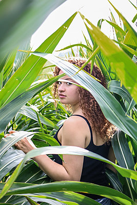 Teenage Girl in Cornfield - p1019m1475136 by Stephen Carroll