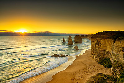 The Twelve Apostles at Sunset, Great Ocean Road, Australia - p651m2006342 by Tom Mackie