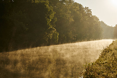 River with forest and haze - p1312m2263117 by Axel Killian