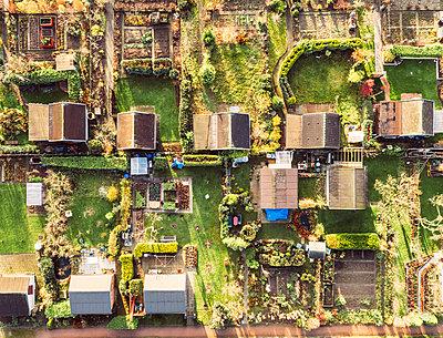 Schrebergärten, Luftaufnahme - p586m1092047 von Kniel Synnatzschke
