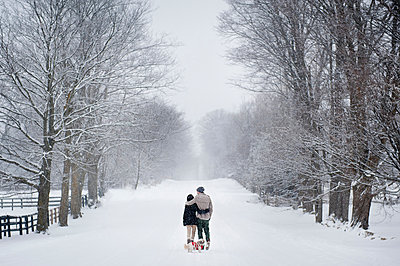Romantic young couple walking dog in snow covered forest, rear view, Ontario, Canada - p429m2051010 by Sara Monika