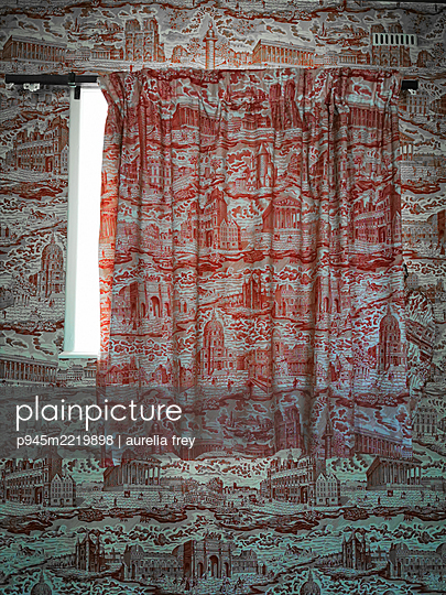 Curtain and wallpaper with similar patterns - p945m2219898 by aurelia frey