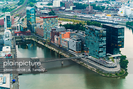 Germany, Duessseldorf, aerial view of Media Harbor - p300m1192108 by A. Tamboly