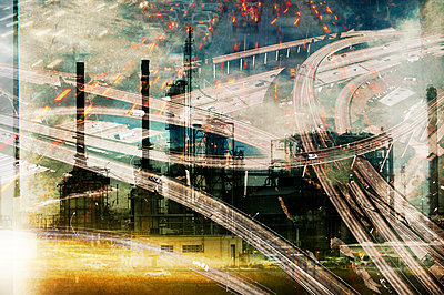 Double exposure of highway and power plant - p555m1415739 by Pete Saloutos